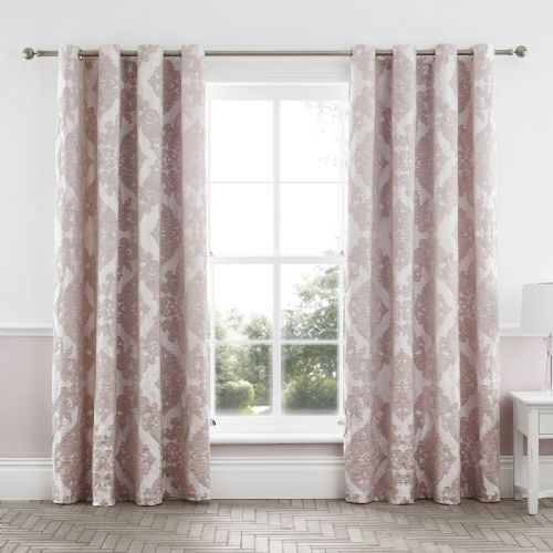 Catherine Lansfield Rococo Jacquard Blush Eyelet Curtains